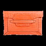 Handmade crocodile clutch, color Salmon