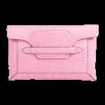 Handmade crocodile clutch, color Pink