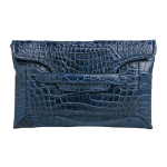 Handmade crocodile clutch, color Blue Navy