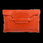 Handmade crocodile clutch, color Red