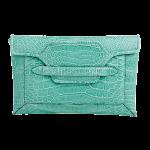 Handmade crocodile clutch, color Turquoise