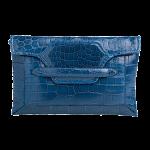 Handmade crocodile clutch, color Cobalt Blue