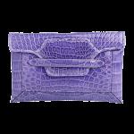 Handmade crocodile clutch, color Amethyst