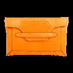 Handmade crocodile clutch, color Orange